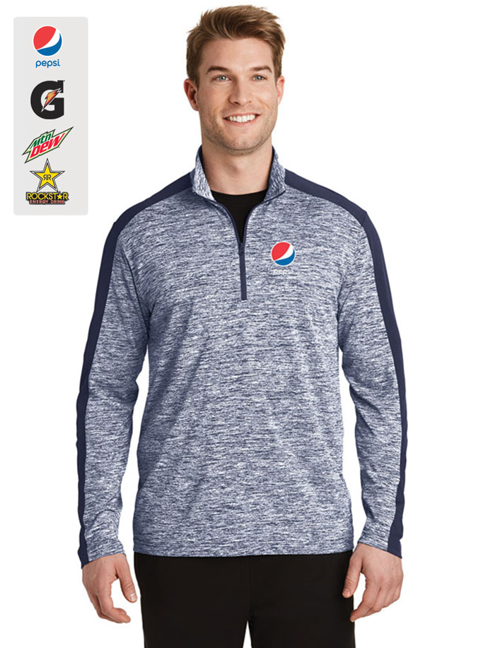 Men's PosiCharge® Electric Heather Colorblock 1/4-Zip Pullover