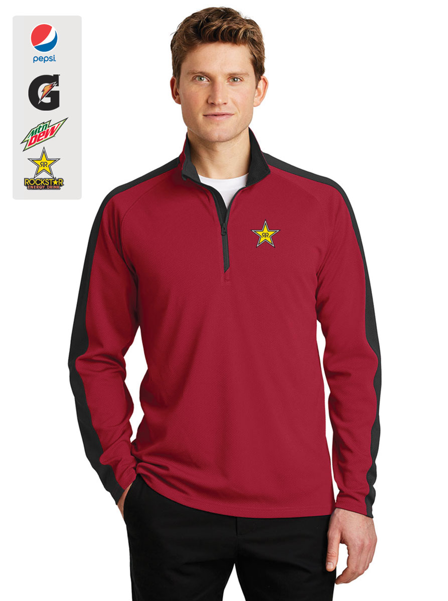 Men's Sport-Wick® Textured Colorblock 1/4-Zip Pullover