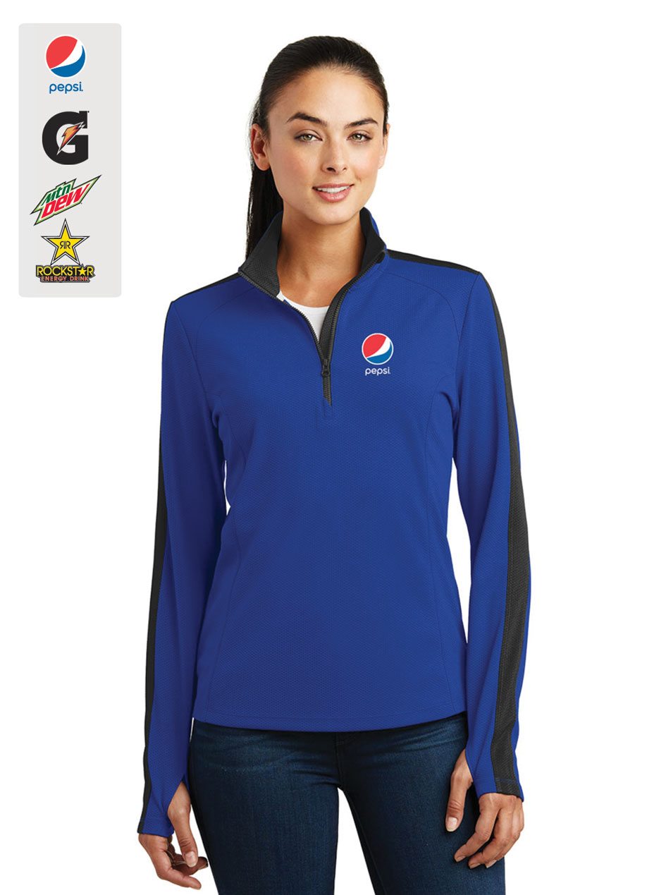 Ladies' Sport-Wick® Textured Colorblock 1/4-Zip Pullover