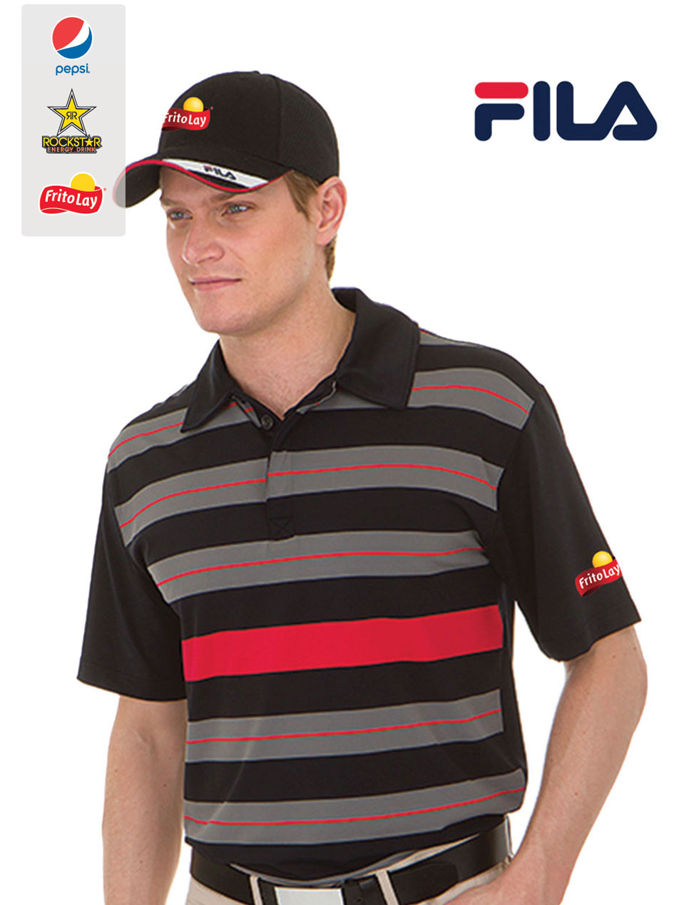 FILA Men's Bristol Engineered Striped Polo