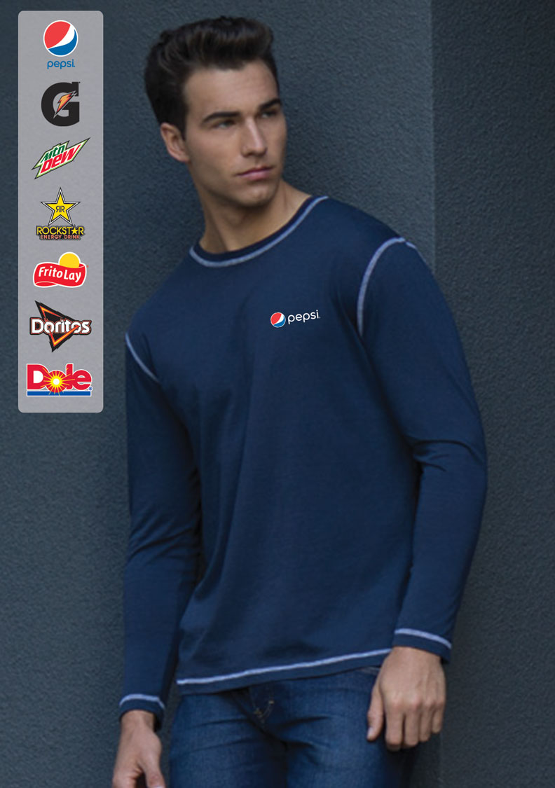 EUROSPUN® RING SPUN CONTRAST STITCH LONG SLEEVE T-Shirt