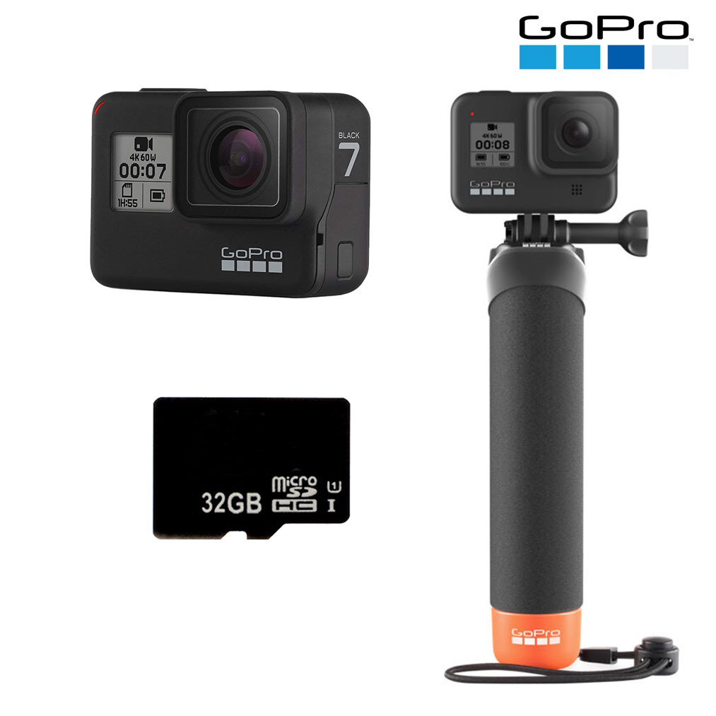 GOPRO HERO7 Black with Micro SD Card and The Handler Floating Hand Grip