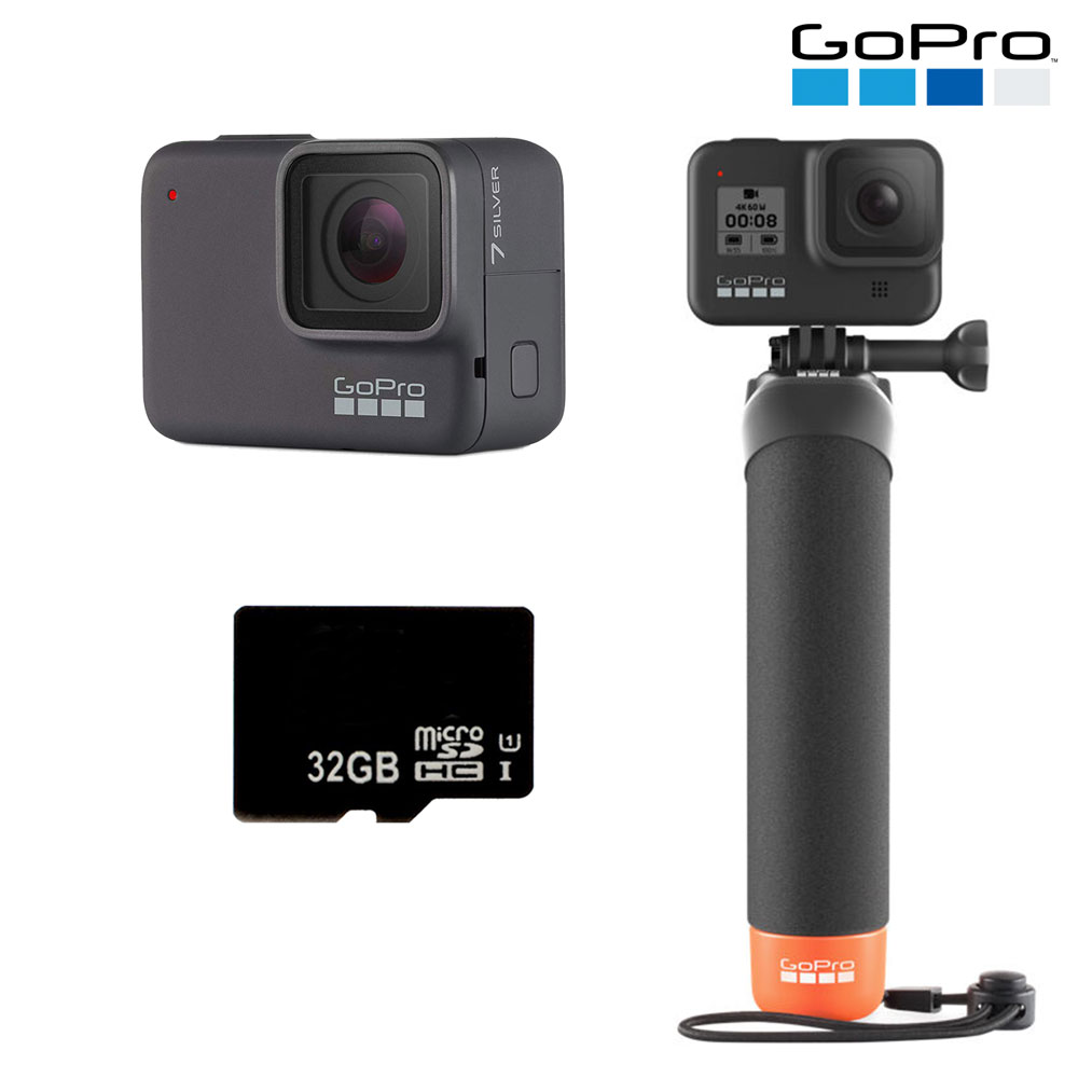 GOPRO HERO7 Silver with Micro SD Card and The Handler Floating Hand Grip