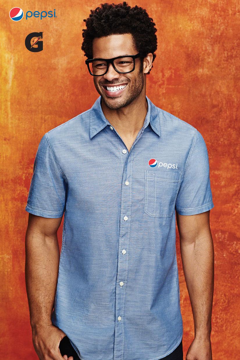 Mens Short Sleeve Washed Woven Shirt