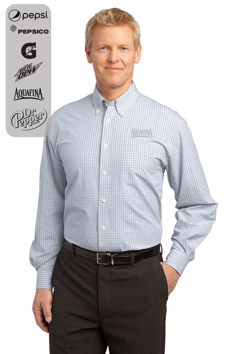 Men's Plaid Pattern Easy Care Shirt