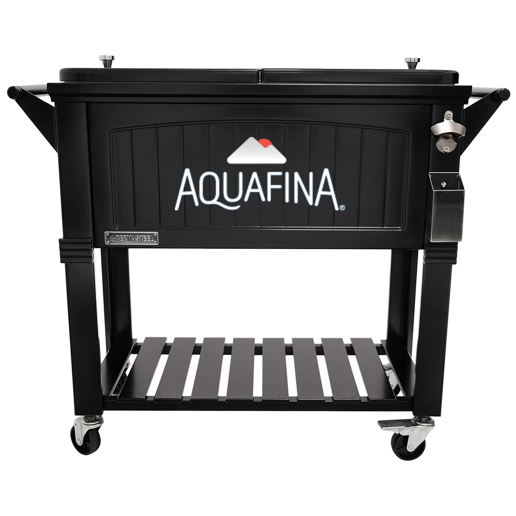 80 QT Antique Furniture Style Rolling Patio Cooler - Black - Aquafina