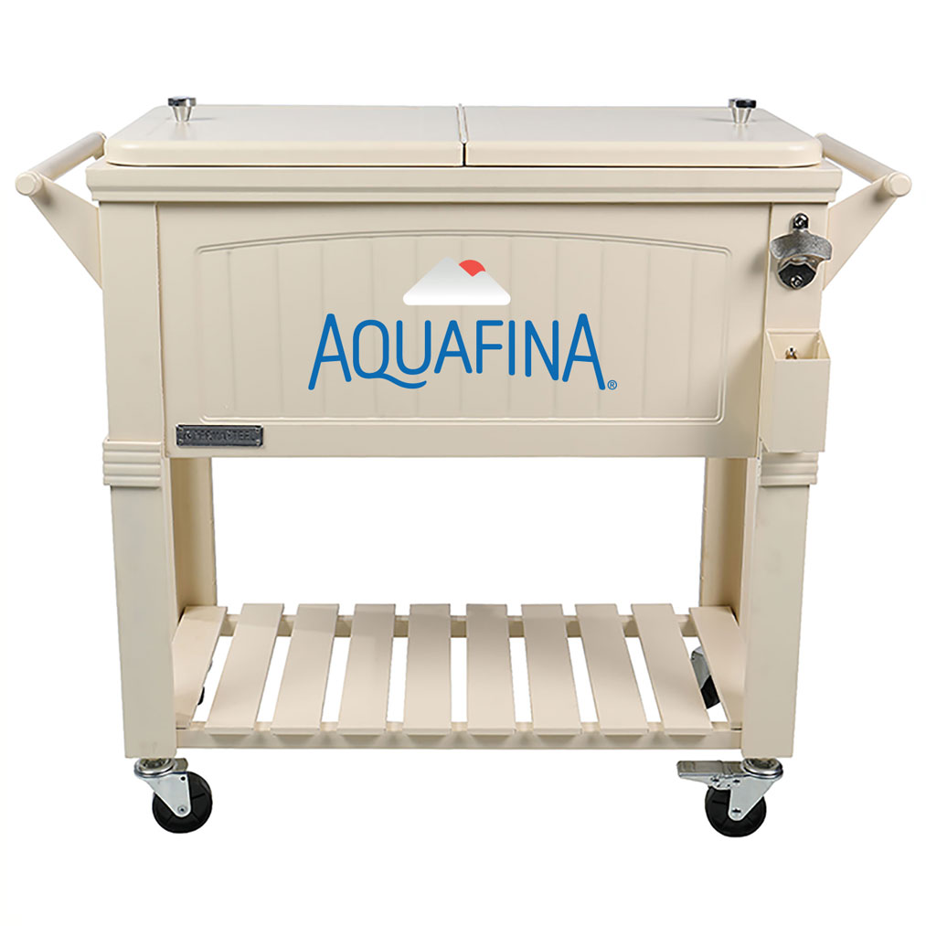 80 QT Antique Furniture Style Rolling Patio Cooler - Cream - Aquafina