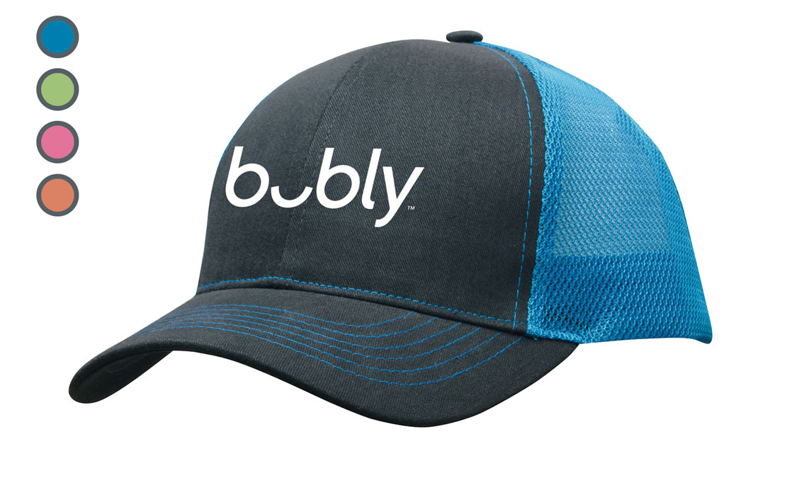 Brushed Cotton with Mesh Back Cap - Bubly