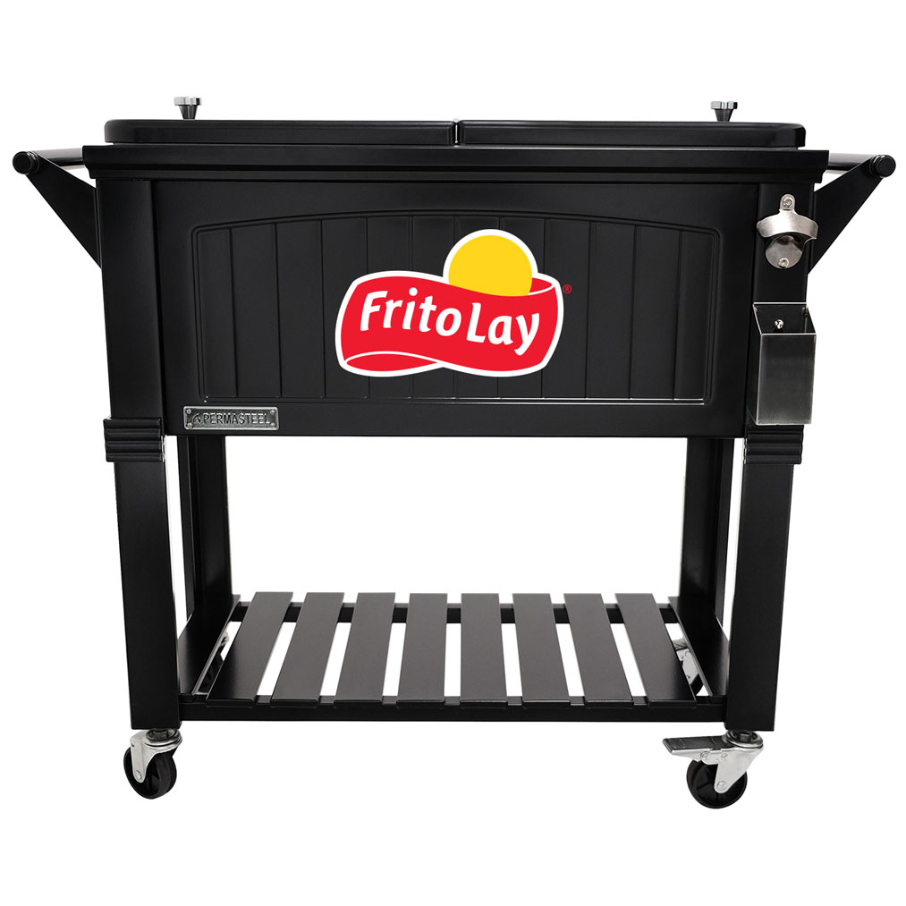 80 QT Antique Furniture Style Rolling Patio Cooler - Black - Fritolay