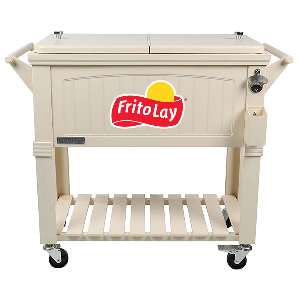 80 QT Antique Furniture Style Rolling Patio Cooler - Cream - Fritolay