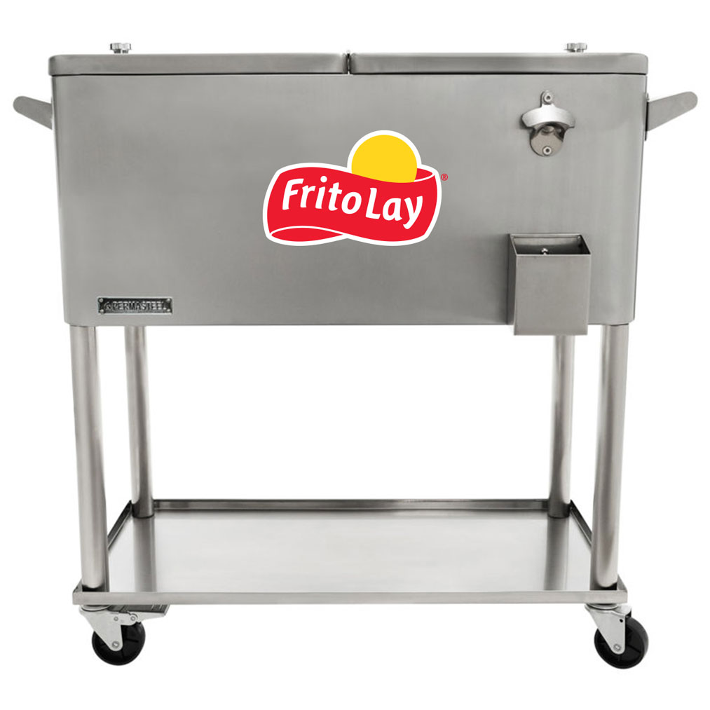 80 QT Stainless Steel Patio Cooler With Bottle Tray - Fritolay