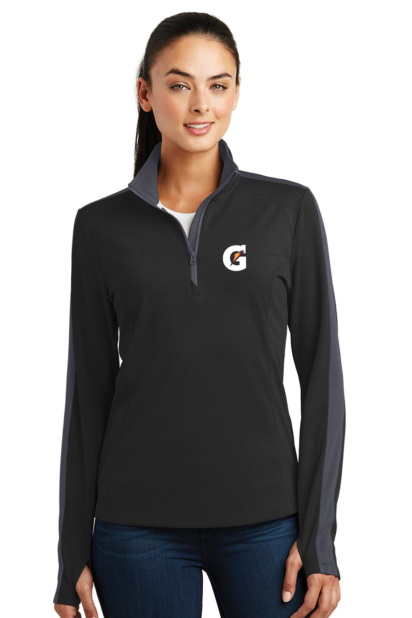 Ladies' Sport-Wick® Textured Colorblock 1/4-Zip Pullover - Gatorade