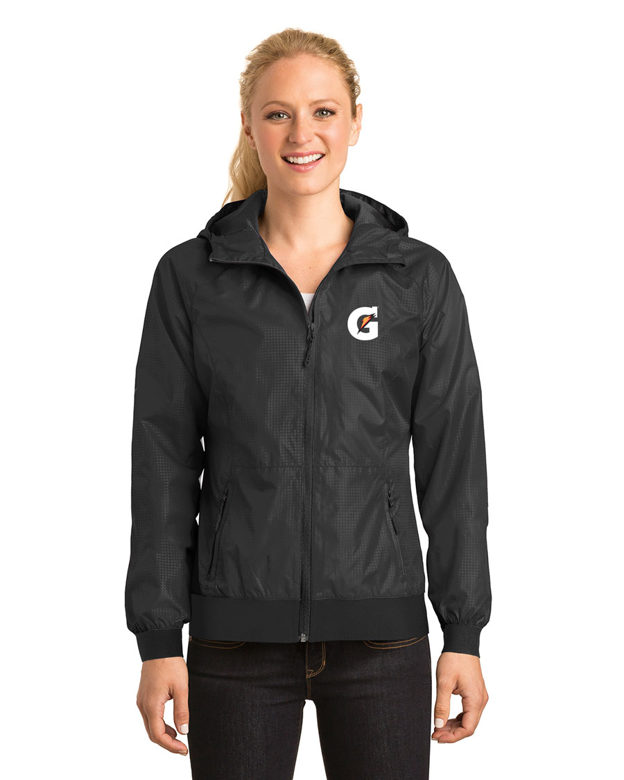 Ladies Embossed Hooded Wind Jacket - Gataorade