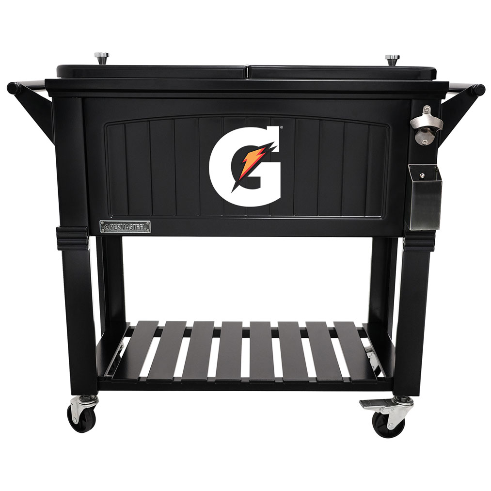 80 QT Antique Furniture Style Rolling Patio Cooler - Black - Gatorade