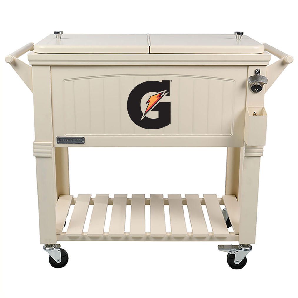 80 QT Antique Furniture Style Rolling Patio Cooler - Cream - Gatorade