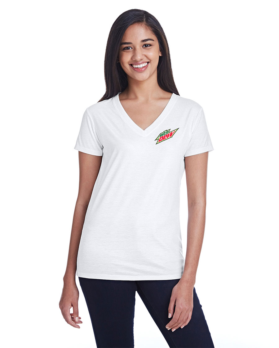 Ladies' Liquid Jersey V-Neck T-Shirt - MTN Dew