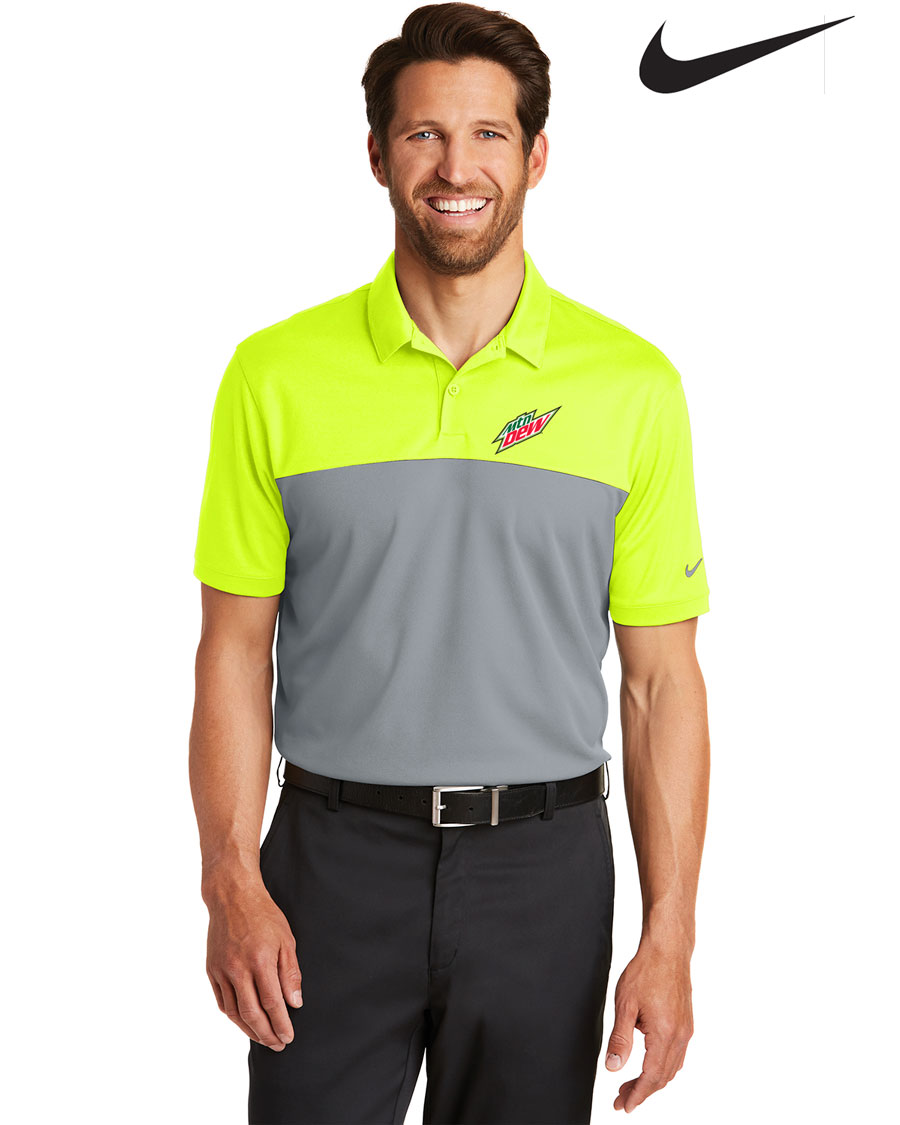 Nike Men's Golf Dri-FIT Colorblock Micro Pique Polo - MTN Dew