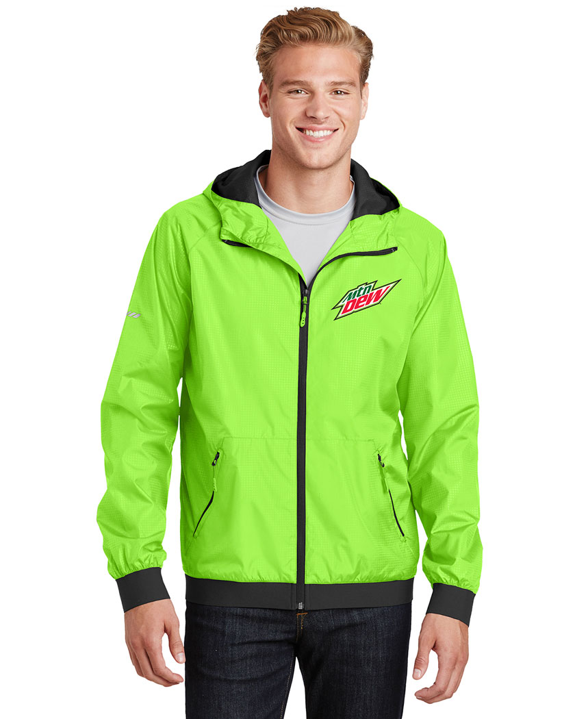 Men's Embossed Hooded Wind Jacket - MTN Dew