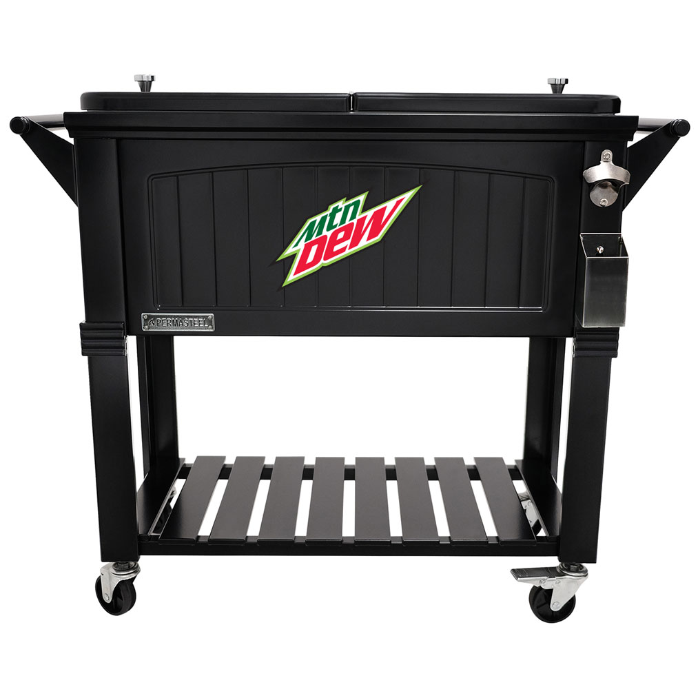 80 QT Antique Furniture Style Rolling Patio Cooler - Black - MTN Dew