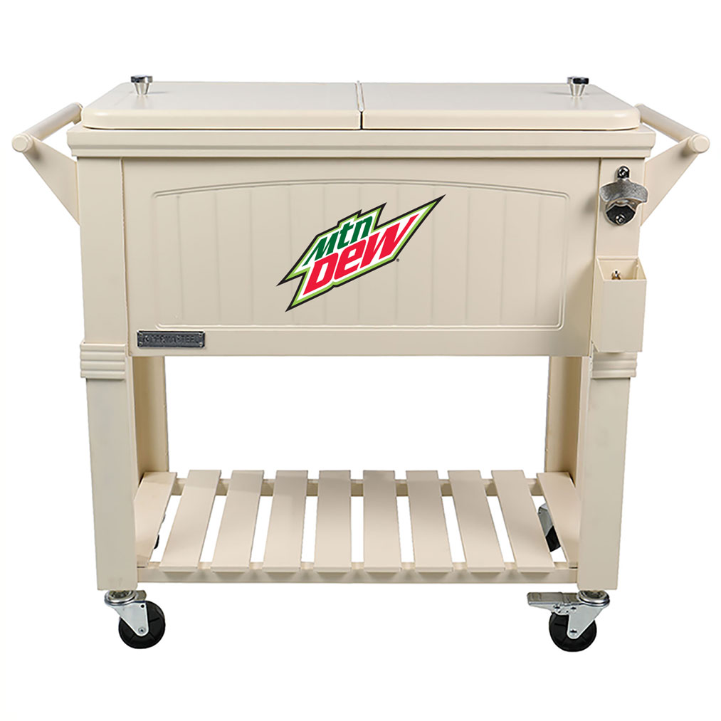 80 QT Antique Furniture Style Rolling Patio Cooler - Cream - MTN Dew