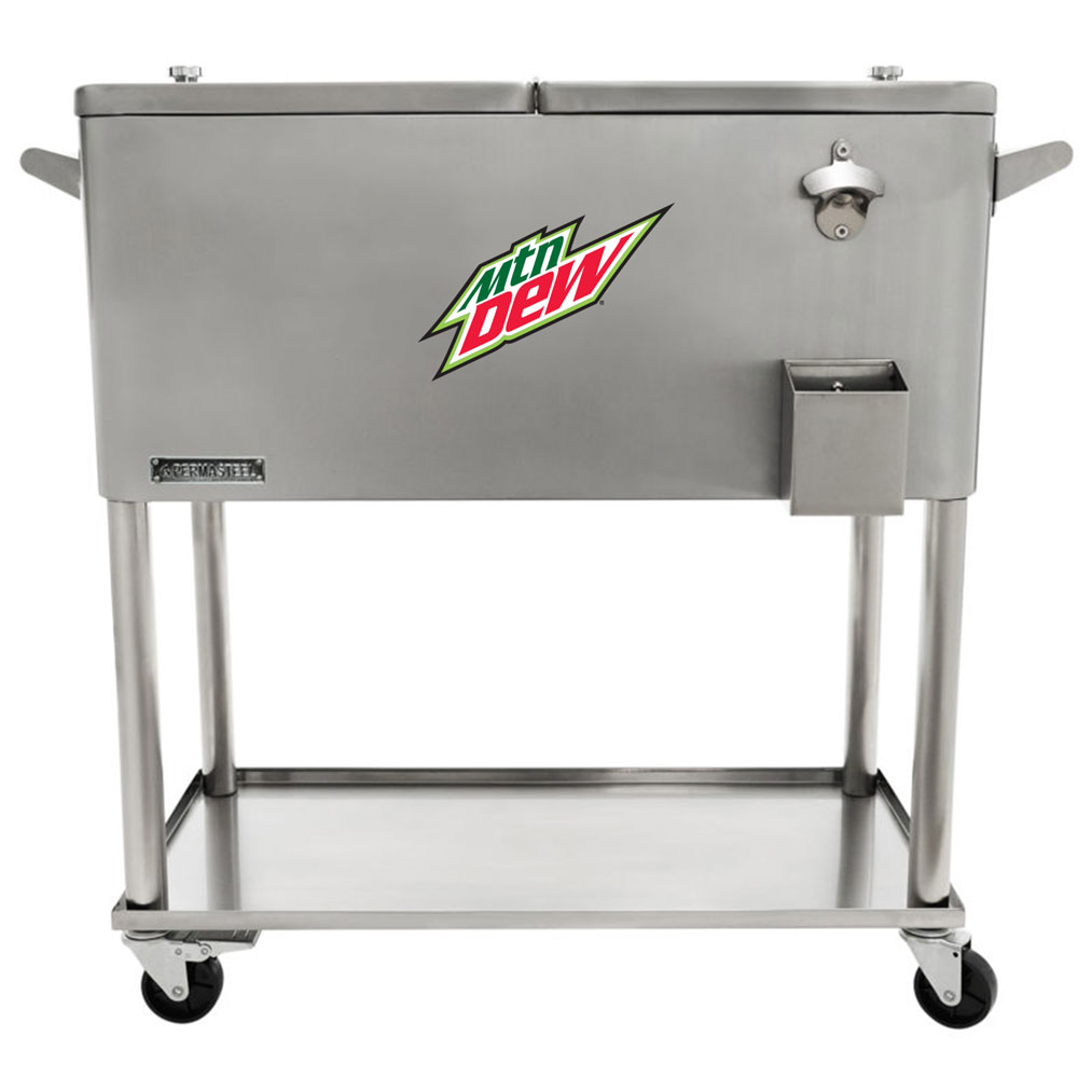 80 QT Stainless Steel Patio Cooler With Bottle Tray - MTN Dew