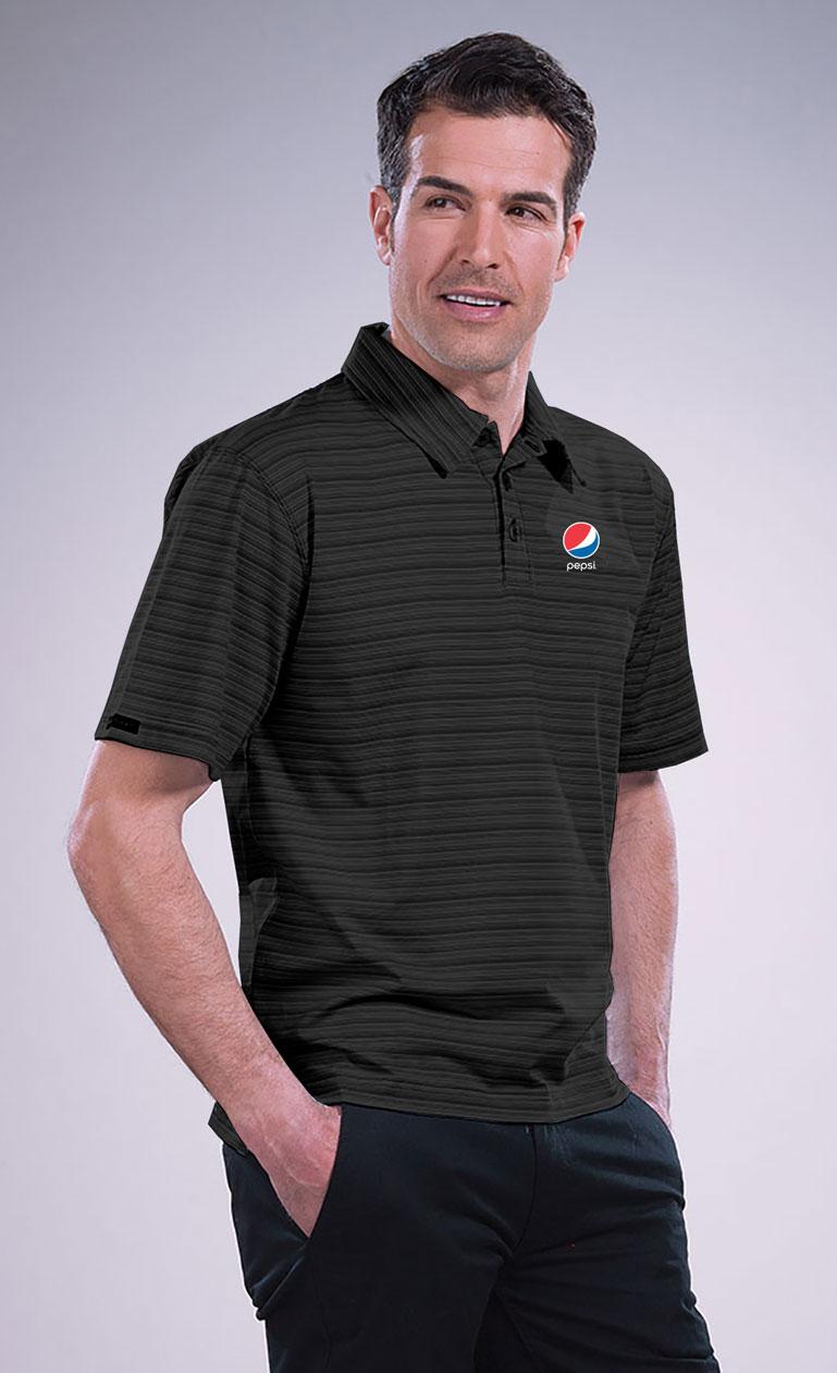 Men's Micro Stripe Princeton Performance Polo - Pepsi