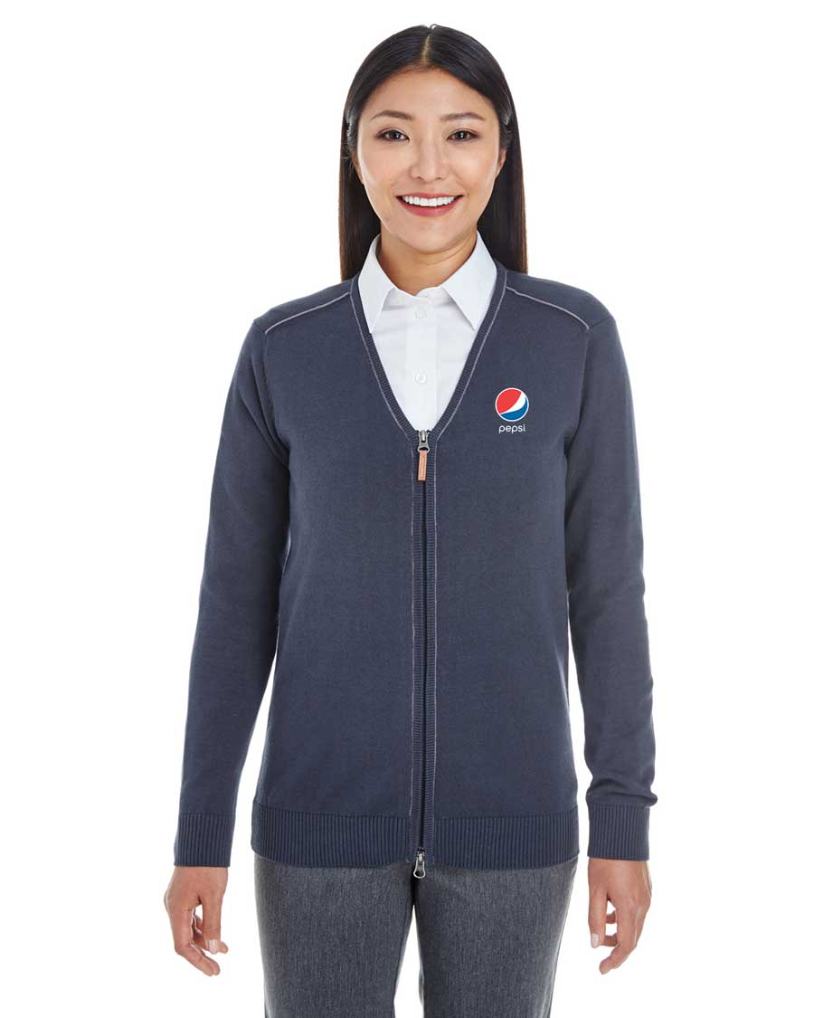 Ladies' Manchester Fully-Fashioned Quarter-Zip Sweater - Pepsi