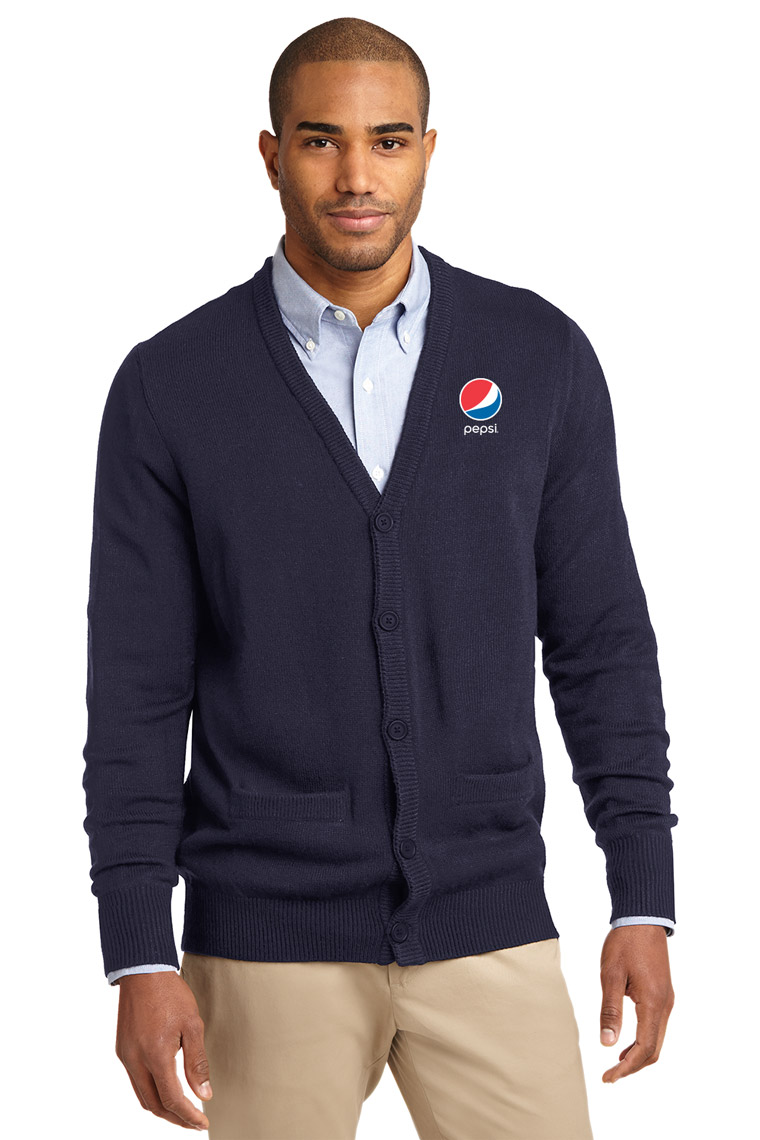 Men's Value V-Neck Cardigan Sweater with Pockets Pepsi