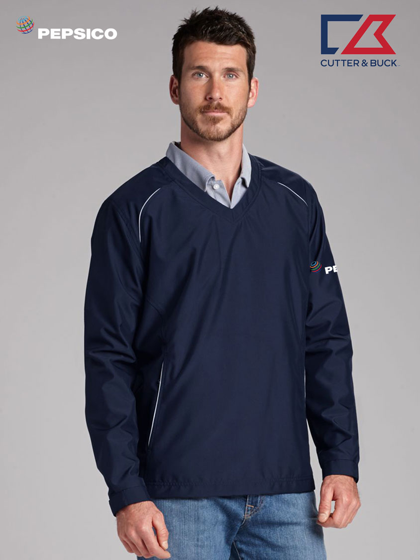 Cutter & Buck Men's CB WeatherTec Beacon V-neck Jacket - Pepsi