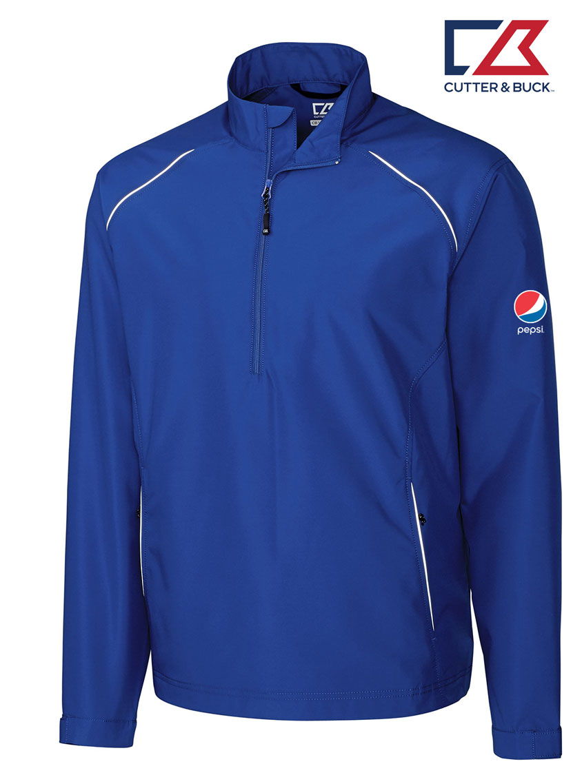 Cutter & Buck Men's CB WeatherTec Beacon Half Zip Jacket - Pepsi