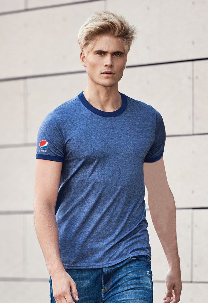 Adult Light Weight Ringer Tee - Pepsi