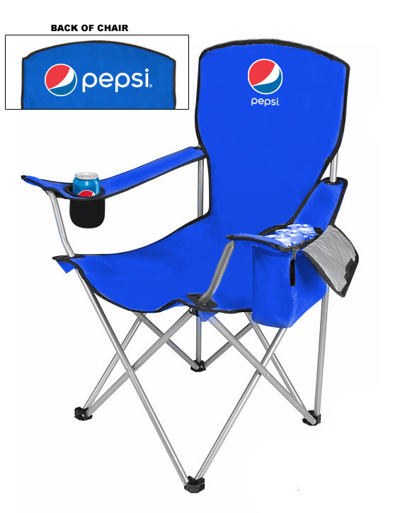 NEW DESIGN Cool Camping Chair With Side Pocket Cooler - Pepsi