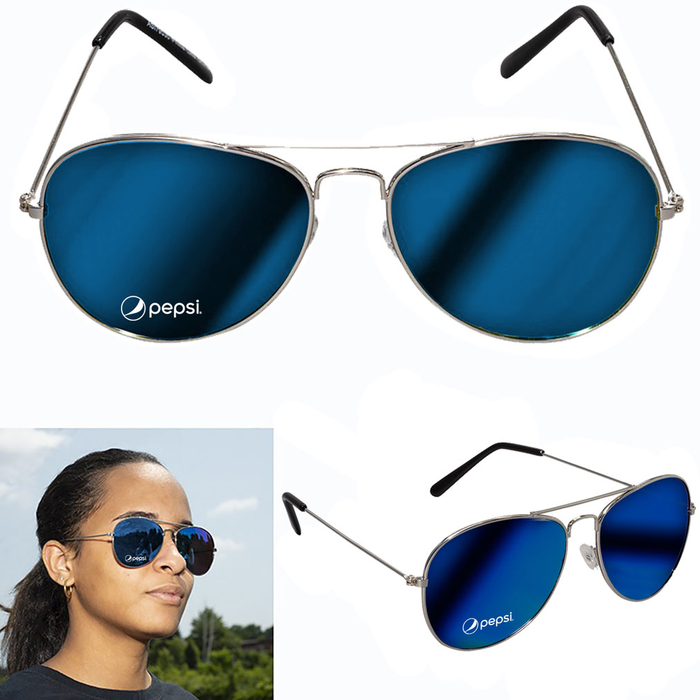 Mirrored Aviator Sunglasses - Pepsi