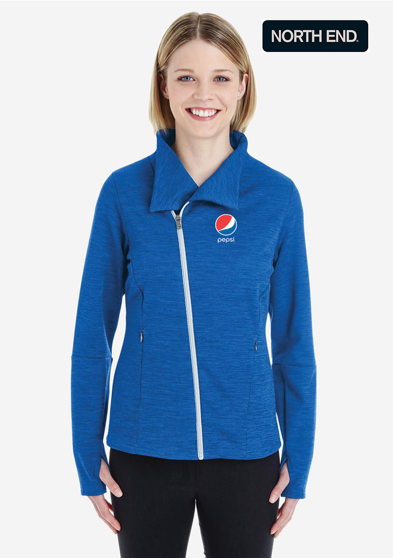 North End Ladies' Amplify Mélange Fleece Jacket - Pepsi