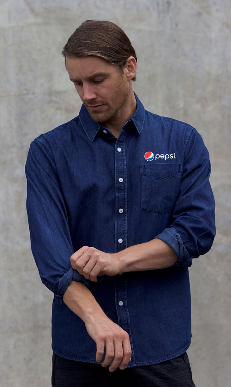 New Premium Collection Men's Premium Denim Workshirt - Pepsi