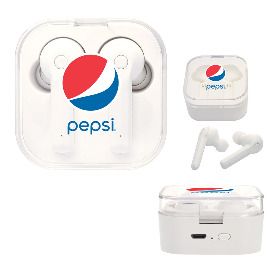 Evolve Wireless Earbuds With Charging Base - Pepsi