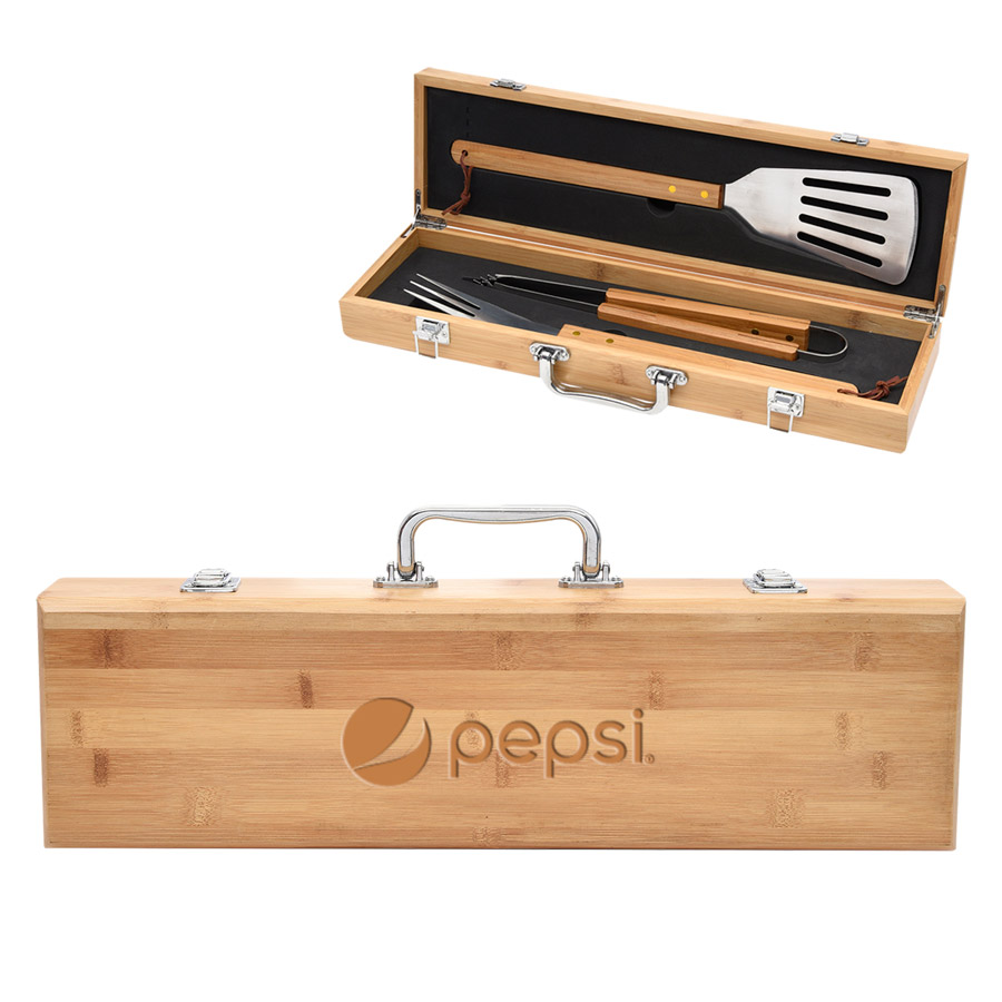 BBQ Set In Bamboo Case - Pepsi