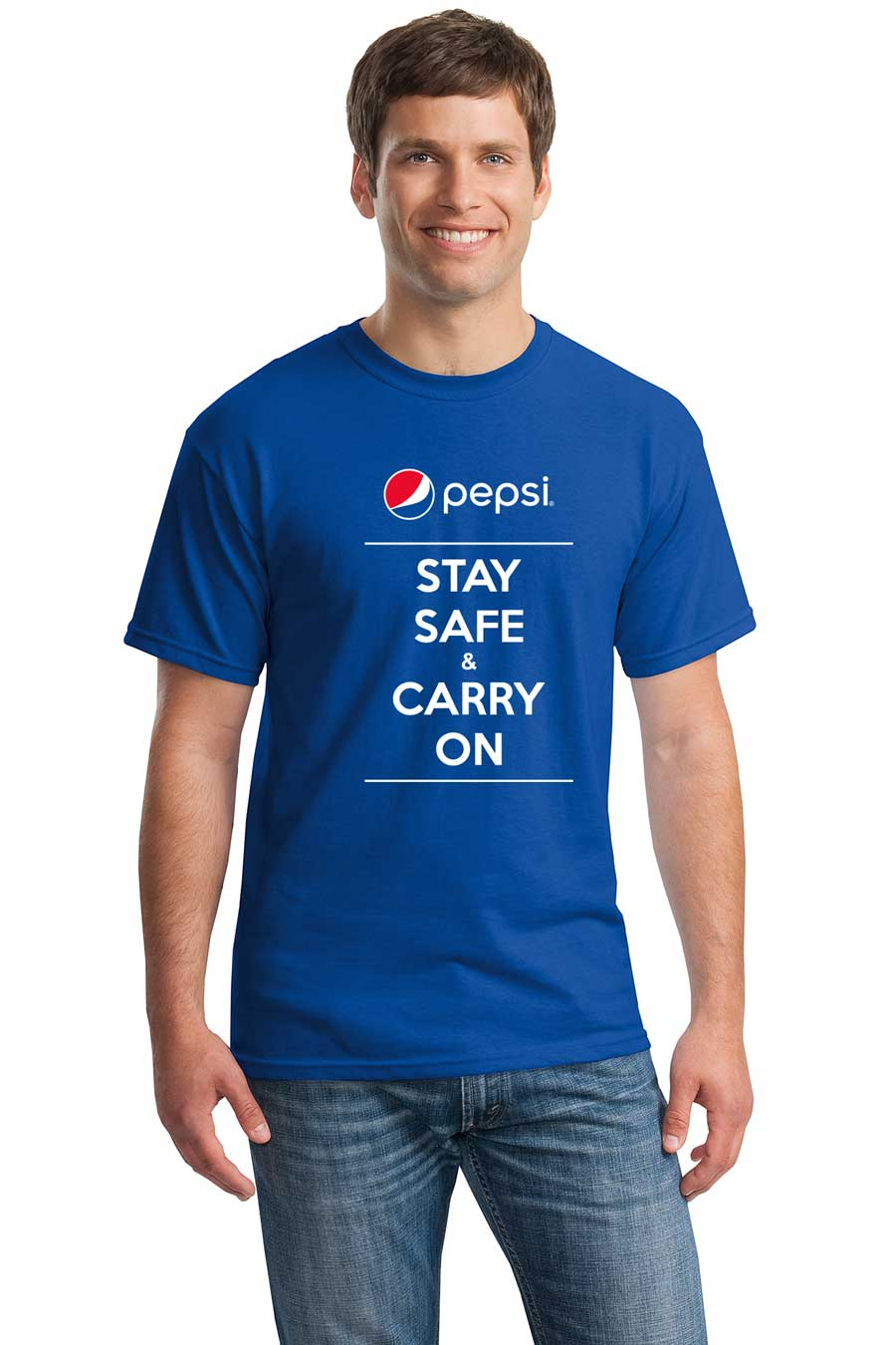 Pepsi Stay Safe & Carry On Men's Tshirt - Royal