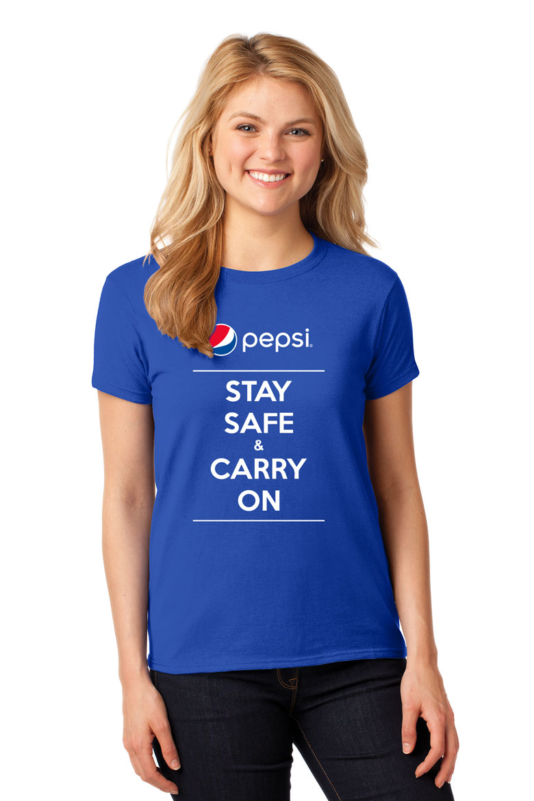 Pepsi Stay Safe & Carry On Ladies  Tshirt - Royal