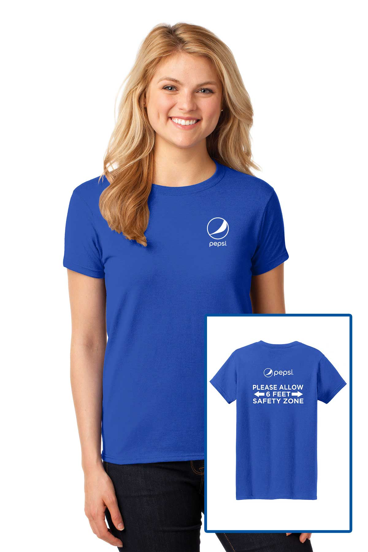 Ladies Pepsi Social Distancing T-Shirt - Royal