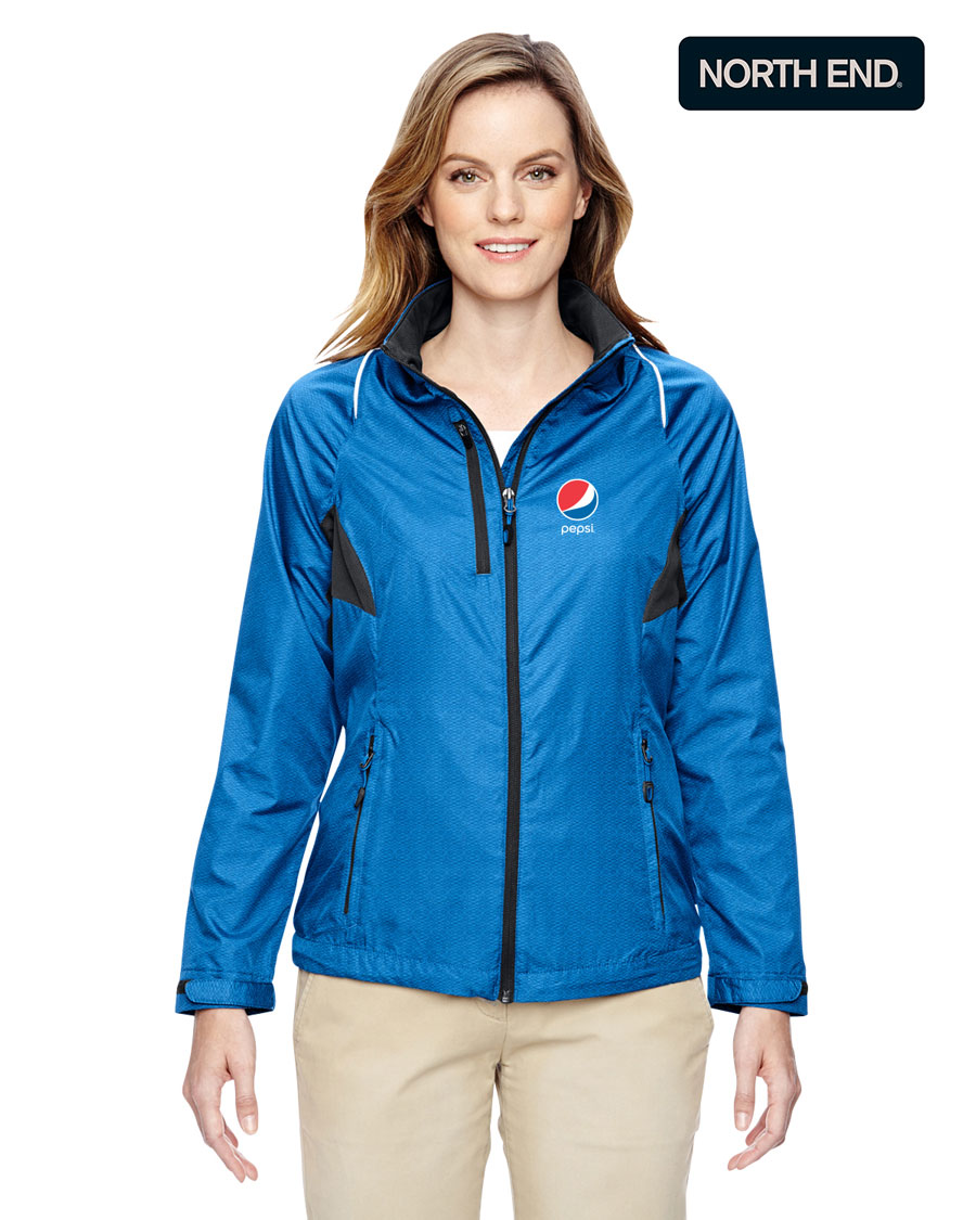 North End Ladies' Sustain Lightweight Recycled Polyester Dobby Jacket with Print - Pepsi