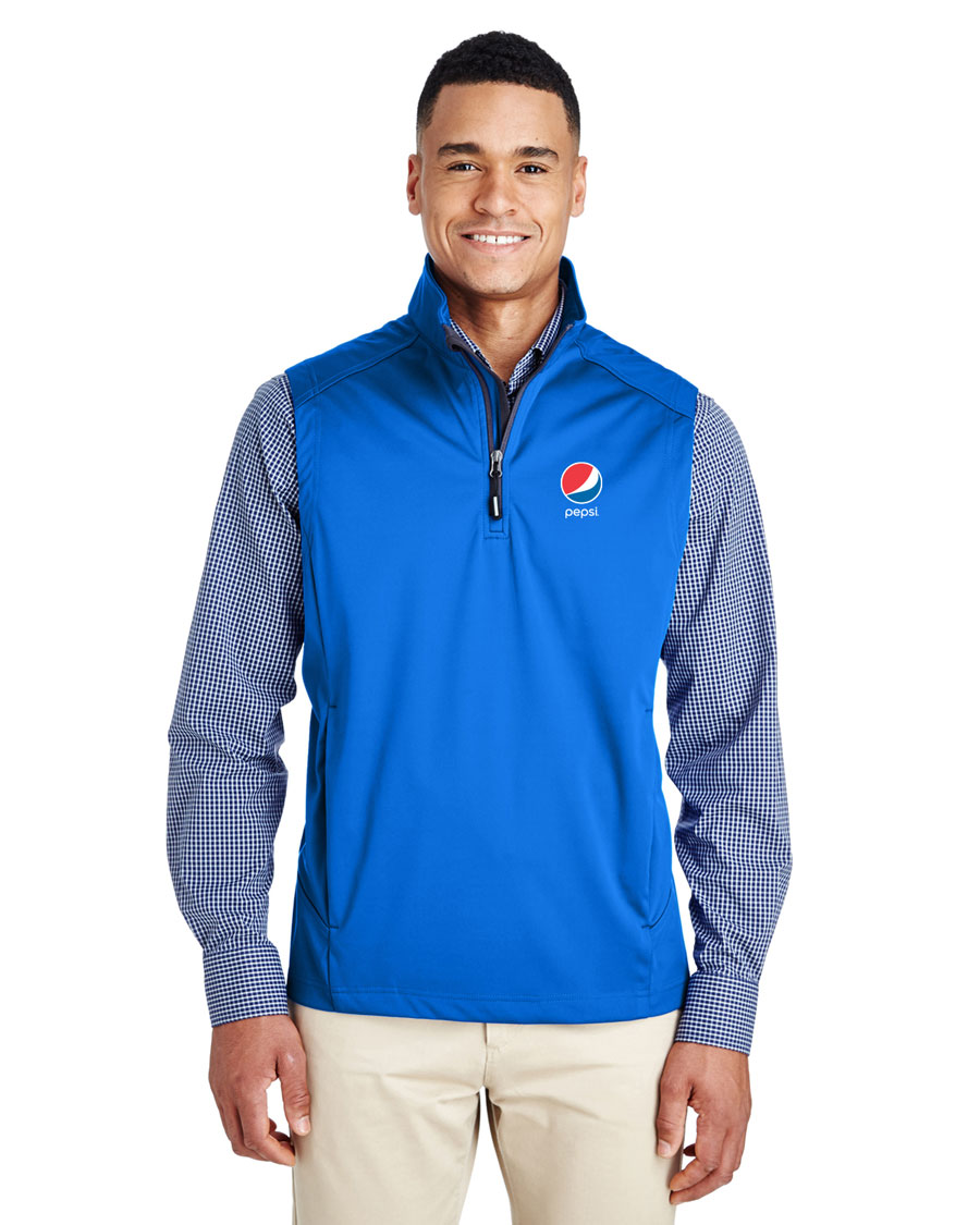 Men's Techno Lite Three-Layer Knit Tech-Shell Quarter-Zip Vest - Pepsi