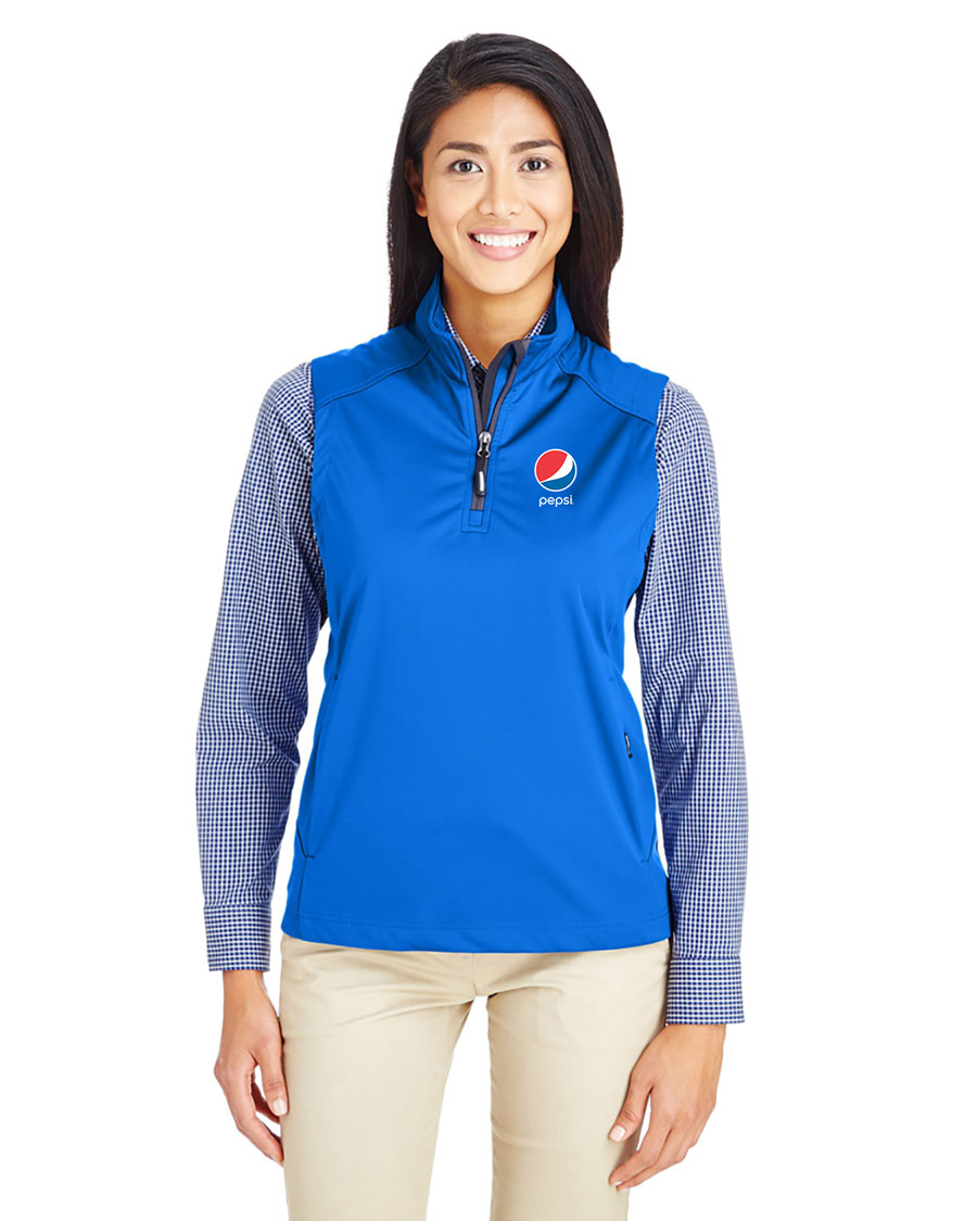 Ladies' Techno Lite Three-Layer Knit Tech-Shell Quarter-Zip Vest - Pepsi