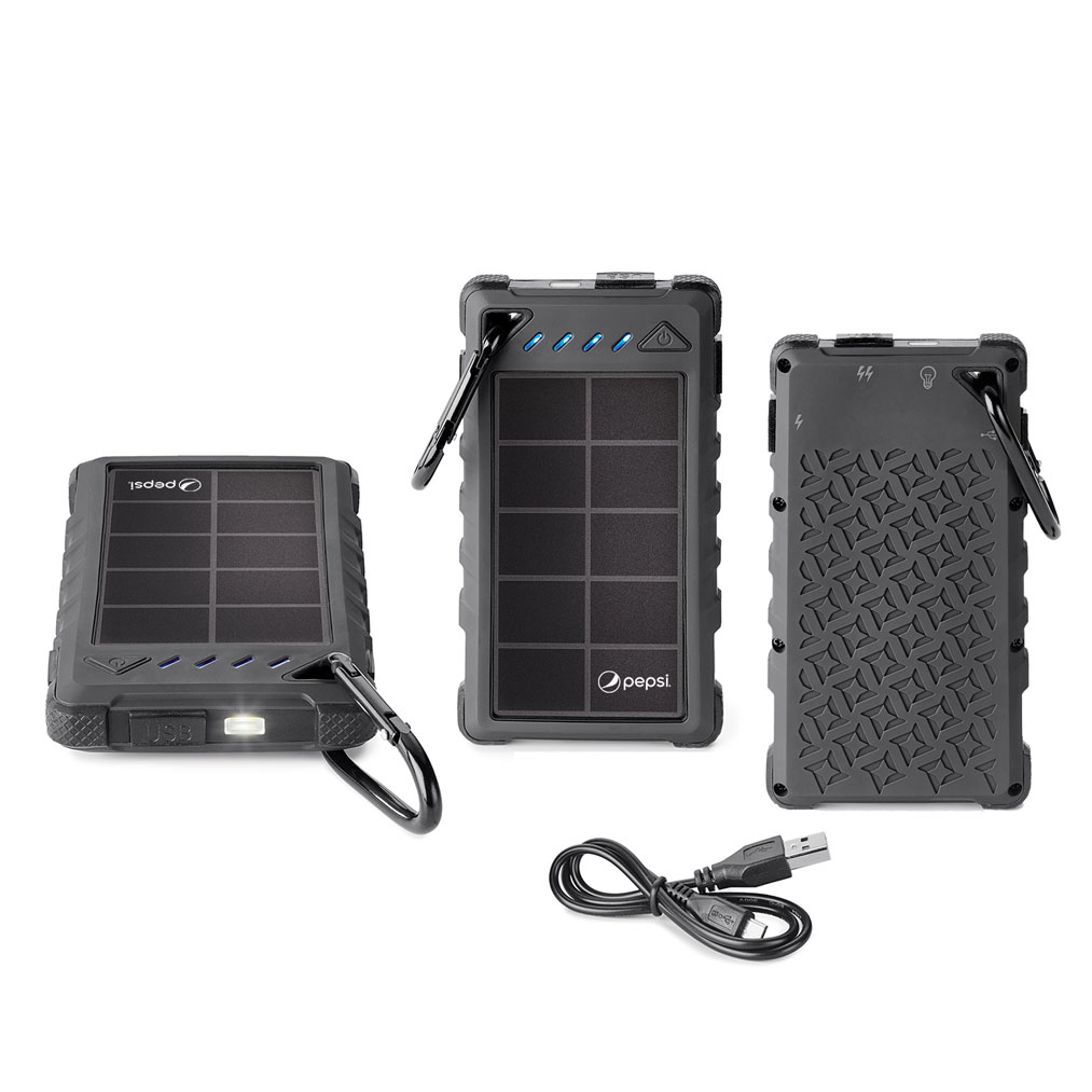 8,000 mAh SOLAR POWER BANK INCLUDES UL CERTIFIED BATTERY - Pepsi