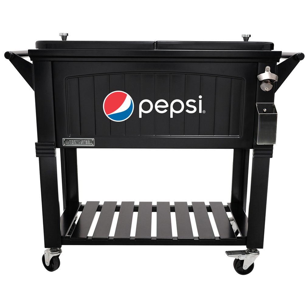 80 QT Antique Furniture Style Rolling Patio Cooler - Black - Pepsi