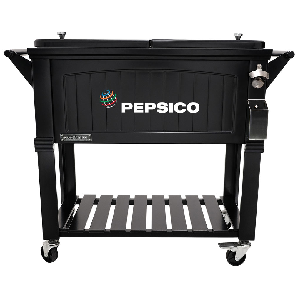 80 QT Antique Furniture Style Rolling Patio Cooler - Black - Pepsico