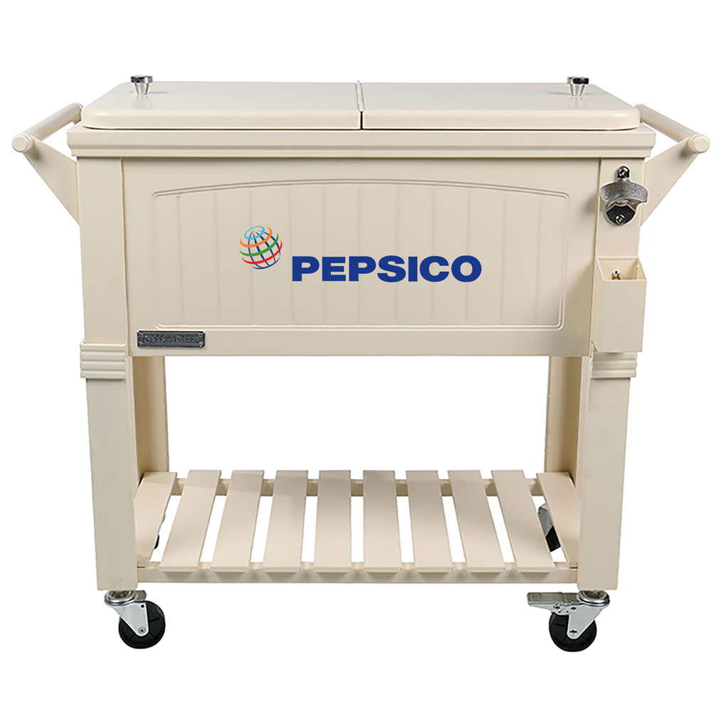 80 QT Antique Furniture Style Rolling Patio Cooler - Cream - Pepsico