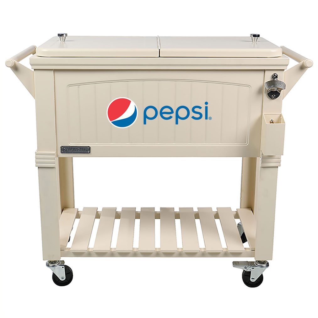 80 QT Antique Furniture Style Rolling Patio Cooler - Cream - Pepsi