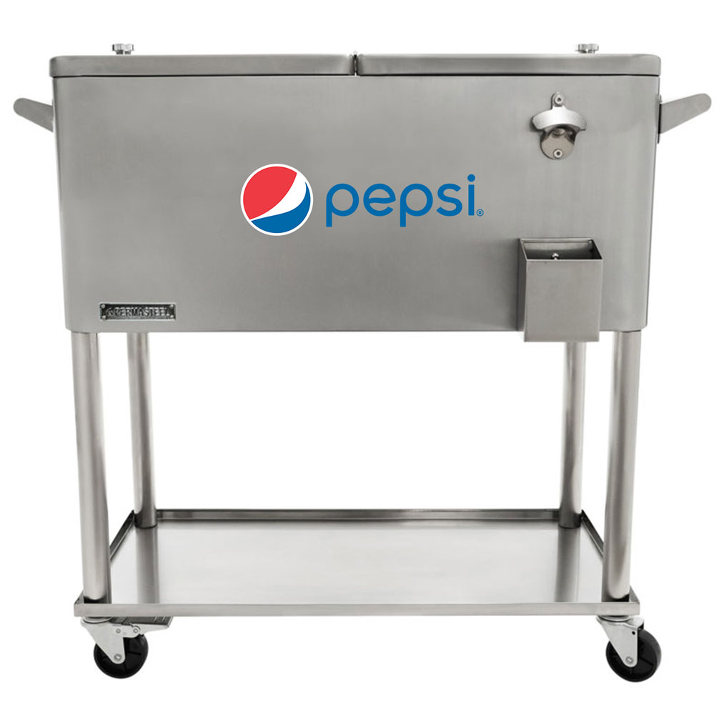 80 QT Stainless Steel Patio Cooler With Bottle Tray - Pepsi