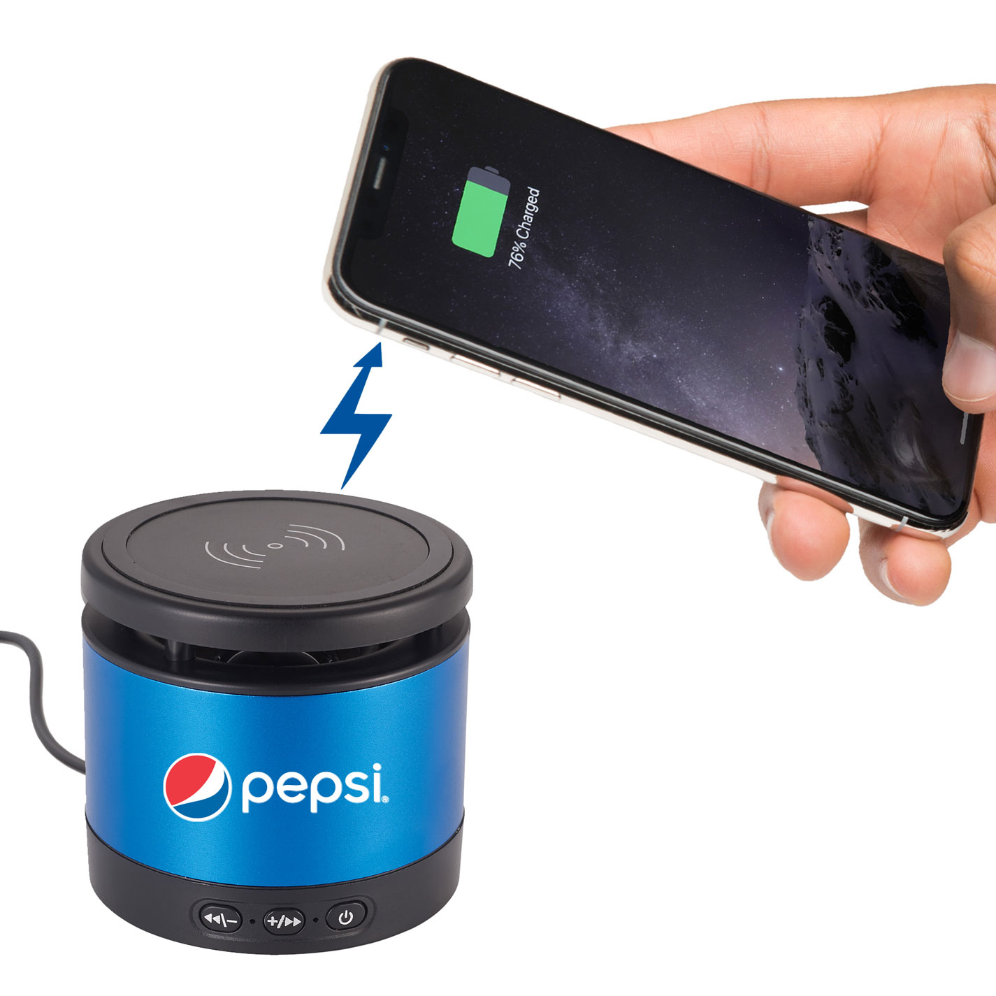 Metal Bluetooth Speaker and Wireless Charging Pad - Pepsi